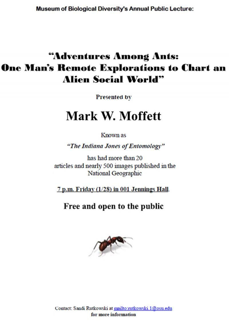 Flyer for Mark Moffett talk in 2001