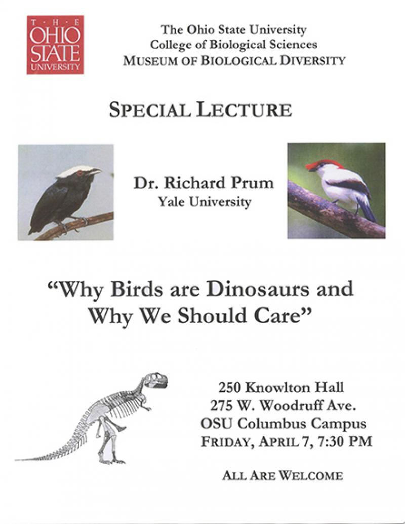 Flyer for Richard Prum's lecture in 2006